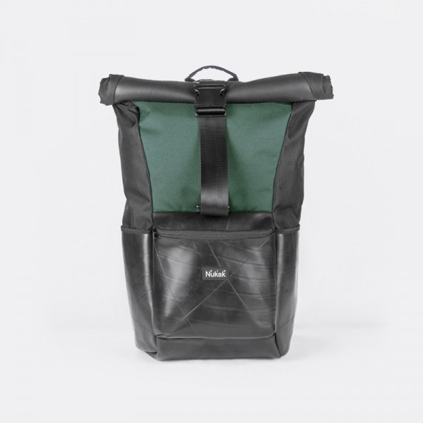 BICYCLE INNERTUBE GREEN ROLLTOP BACKPACK ARCE